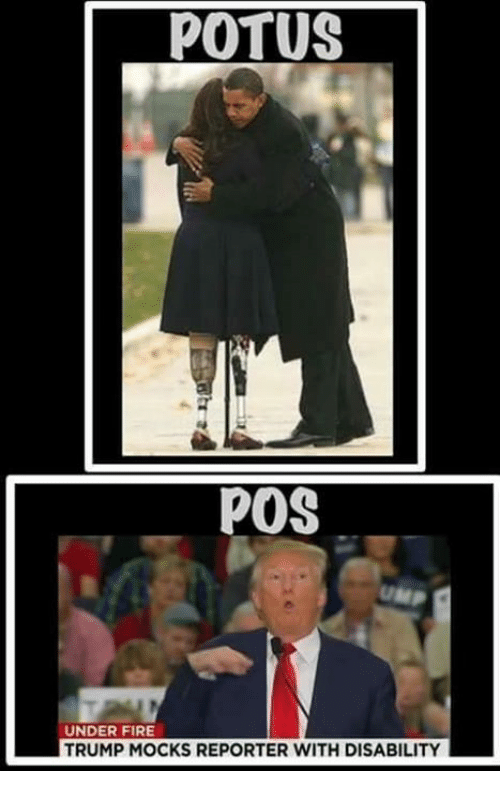 Fire, Trump, and Potus: POTUS  POS  UNDER FIRE  TRUMP MOCKS REPORTER WITH DISABILITY