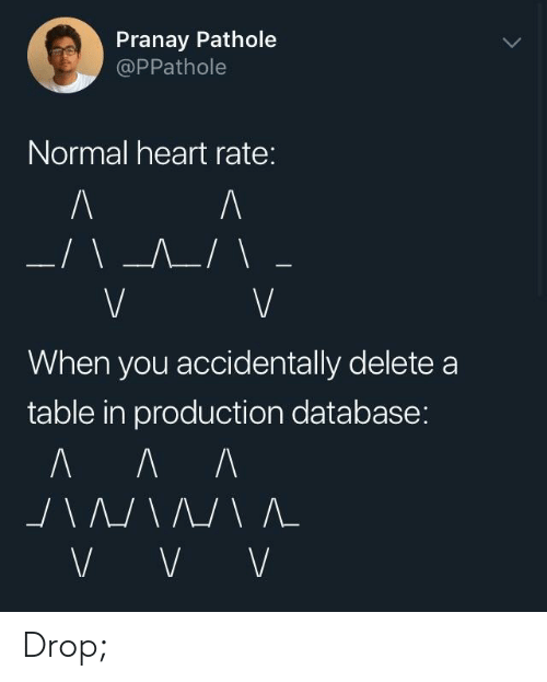 heart rate: Pranay Pathole  @PPathole  Normal heart rate:  When you accidentally deletea  table in production database: Drop;