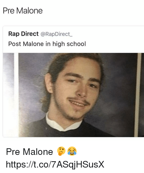 rapped: Pre Malone  Rap Direct @RapDirect  Post Malone in high school Pre Malone 🤔😂 https://t.co/7ASqjHSusX