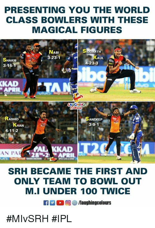 Laughin: PRESENTING YOU THE WORLD  CLASS BOWLERS WITH THESE  MAGICAL FIGURES  NABISIDDARTH  23-1  UL  HAKIB  23-3  3-16  ibo  も  KAD  APRIL  AUGHING  RASHID  ANDEEP  3-9-1  4-11-2  AL KKAD  28-2APRIL  AN PA  SRH BECAME THE FIRST AND  ONLY TEAM TO BOWL OUT  M.I UNDER 100 TWICE  0回參/laughin gcolours #MIvSRH #IPL
