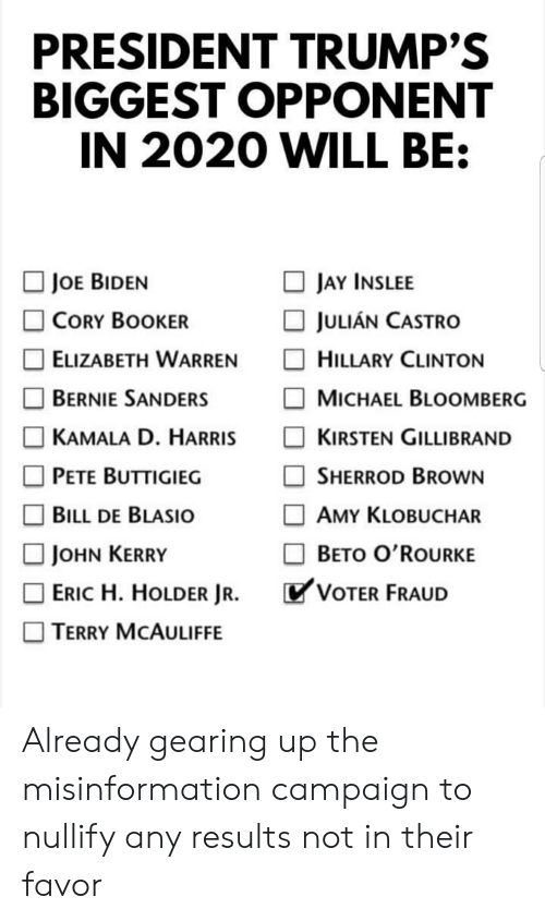 Bernie Sanders, Elizabeth Warren, and Hillary Clinton: PRESIDENT TRUMP'S  BIGGEST OPPONENT  IN 2020 WILL BE  □ JAYİNSLEE  □ JULIAN CASTRO  □ HILLARY CLINTON  □ MICHAEL BLOOMBERG  □ KIRSTEN GILLI BRAND  □ SHERROD BROWN  □ AMY KLOBUCHAR  □ BETO O'ROURKE  JOE BIDEN  □ CORY BOOKER  □ ELIZABETH WARREN  □ BERNIE SANDERS  □ KAMALA D. HARRIS  □ PETE BUTTIGIEG  □ BILL DE BLASIO  □ JOHN KERRY  □ ERIC H. HOLDER JR.  □ TERRY MCAULIFFE  VOTER FRAUD Already gearing up the misinformation campaign to nullify any results not in their favor