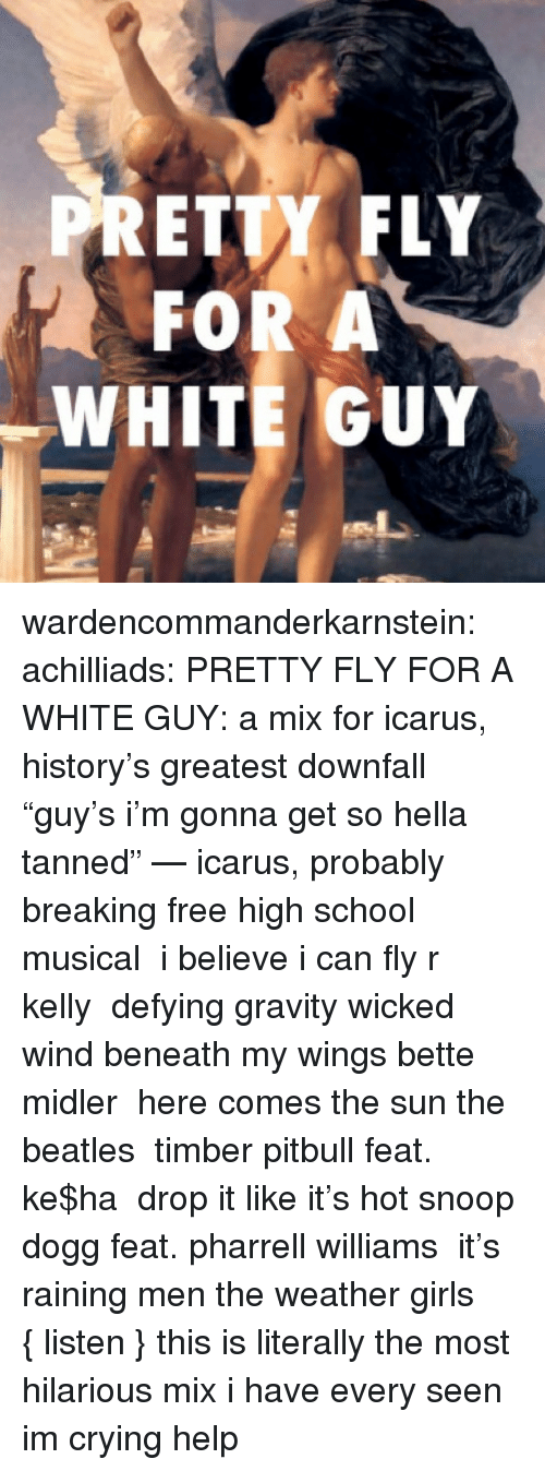 """Pharrell Williams: PRETTY FLY  FOR A  WHITE GUY wardencommanderkarnstein:   achilliads:  PRETTY FLY FOR A WHITE GUY:a mix for icarus, history's greatest downfall """"guy's i'm gonna get so hella tanned"""" — icarus, probably breaking freehigh school musical i believe i can flyr kelly defying gravitywicked wind beneath my wingsbette midler here comes the sunthe beatles timberpitbull feat. ke$ha drop it like it's hotsnoop dogg feat. pharrell williams it's raining menthe weather girls  {listen}  this is literally the most hilarious mix i have every seen im crying help"""