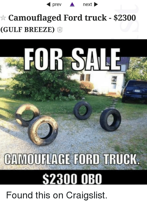 Prev a Ne Camouflaged Ford Truck $2300 GULF BREEZE FOR SALE