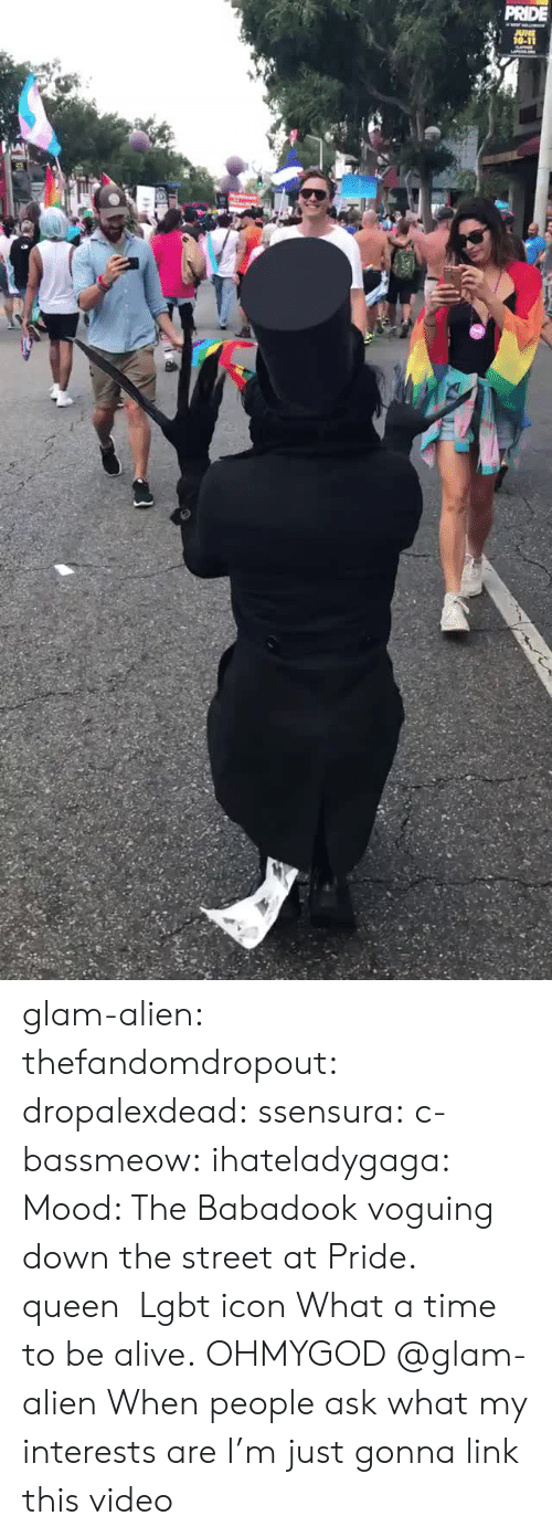 Alive, Lgbt, and Mood: PRIDE glam-alien:   thefandomdropout:   dropalexdead:  ssensura:   c-bassmeow:  ihateladygaga: Mood: The Babadook voguing down the street at Pride. queen   Lgbt icon   What a time to be alive.  OHMYGOD @glam-alien   When people ask what my interests are I'm just gonna link this video