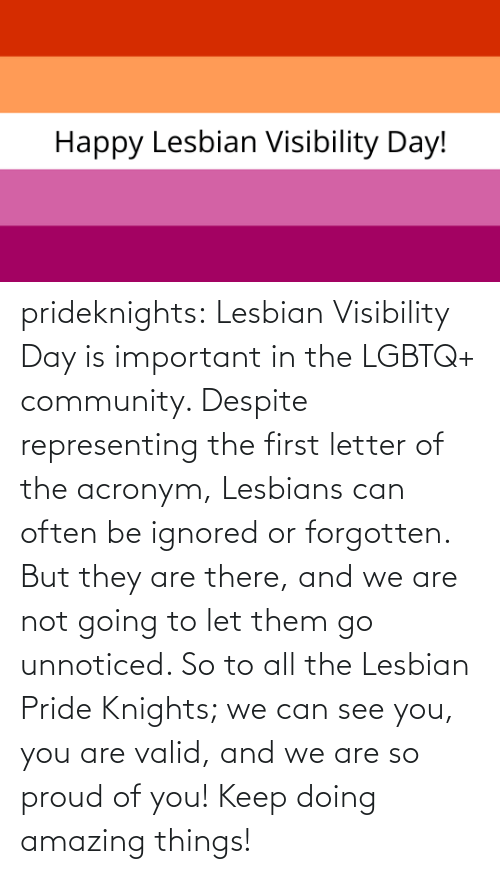 community: prideknights:  Lesbian Visibility Day is important in the LGBTQ+ community. Despite representing the first letter of the acronym, Lesbians can often be ignored or forgotten. But they are there, and we are not going to let them go unnoticed. So to all the Lesbian Pride Knights; we can see you, you are valid, and we are so proud of you! Keep doing amazing things!