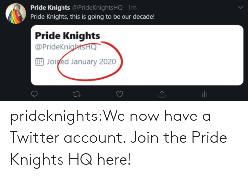 pride: prideknights:We now have a Twitter account. Join the Pride Knights HQ here!