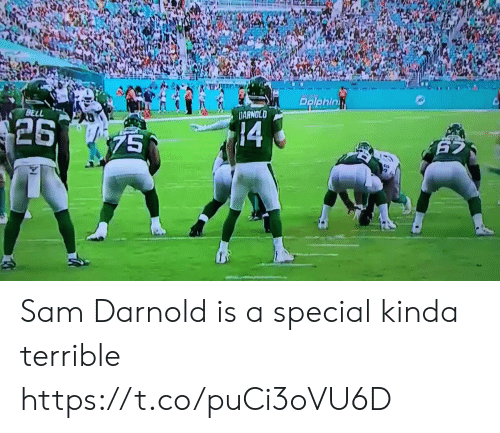 sam: PRiphin  BELL  DARNOLD  $26  14  75  625  25 Sam Darnold is a special kinda terrible https://t.co/puCi3oVU6D
