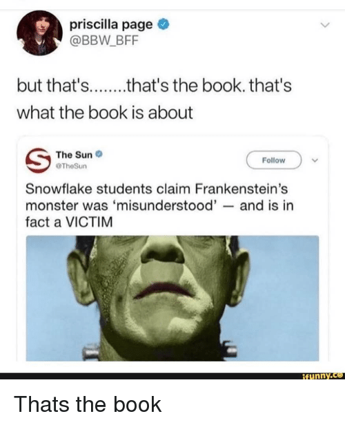 Bbw, Monster, and Book: priscilla page  @BBW BFF  what the book is about  The Suno  Follow  TheSun  Snowflake students claim Frankenstein's  monster was 'misunderstood'- and is ir  fact a VICTIM  ifunny.ce Thats the book