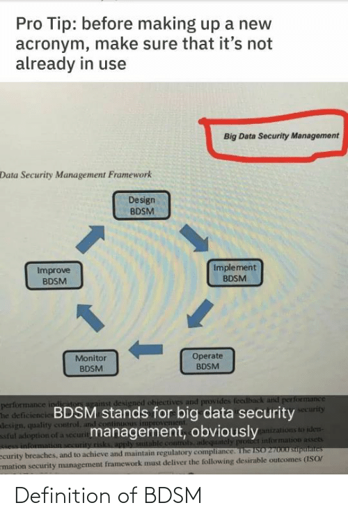 Pro Tip: Pro Tip: before making up a new  acronym, make sure that it's not  already in use  Big Data Security Management  Data Security Management Framework  Design  BDSM  Implement  Improve  BDSM  BDSM  1.  Operate  BDSM  Monitor  BDSM  performance indiriton against designed ohiectives and provides feedback and performance  The deficiencie BDSM stands for big data security  design, quality control, and cont  ful adoption of a securitmanagement, obviously  e information security risks, apply sutable controls adequately pront information assets  ecurity breaches, and to achieve and maintain regulatory compliance. The ISO 27000 suputaites  mation security management framework must deliver the following desirable outcomes (ISO/  security  ganizations to iden- Definition of BDSM
