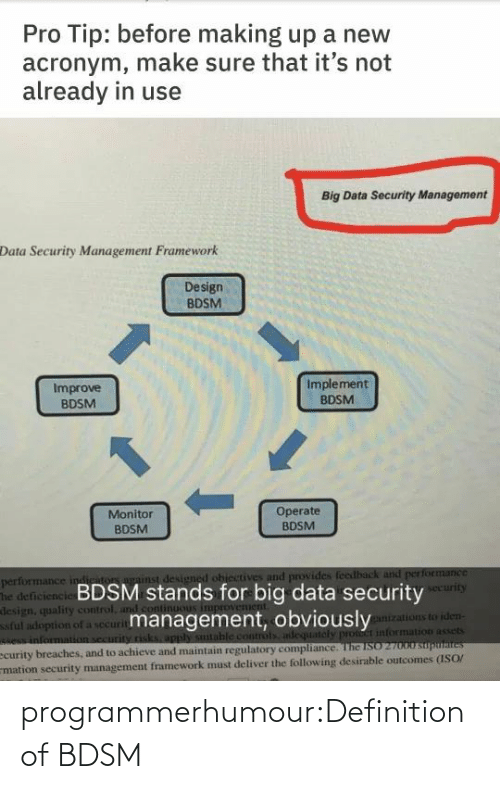Performance: Pro Tip: before making up a new  acronym, make sure that it's not  already in use  Big Data Security Management  Data Security Management Framework  Design  BDSM  Implement  Improve  BDSM  BDSM  1.  Operate  BDSM  Monitor  BDSM  performance indiriton against designed ohiectives and provides feedback and performance  The deficiencie BDSM stands for big data security  design, quality control, and cont  ful adoption of a securitmanagement, obviously  e information security risks, apply sutable controls adequately pront information assets  ecurity breaches, and to achieve and maintain regulatory compliance. The ISO 27000 suputaites  mation security management framework must deliver the following desirable outcomes (ISO/  security  ganizations to iden- programmerhumour:Definition of BDSM