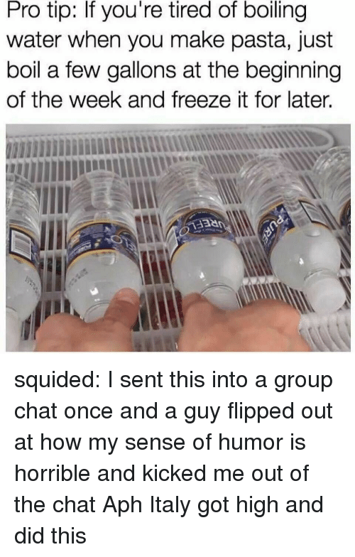 Group Chat, Target, and Tumblr: Pro tip: If you're tired of boiling  water when you make pasta, just  boil a few gallons at the beginning  of the week and freeze it for later. squided: I sent this into a group chat once and a guy flipped out at how my sense of humor is horrible and kicked me out of the chat  Aph Italy got high and did this