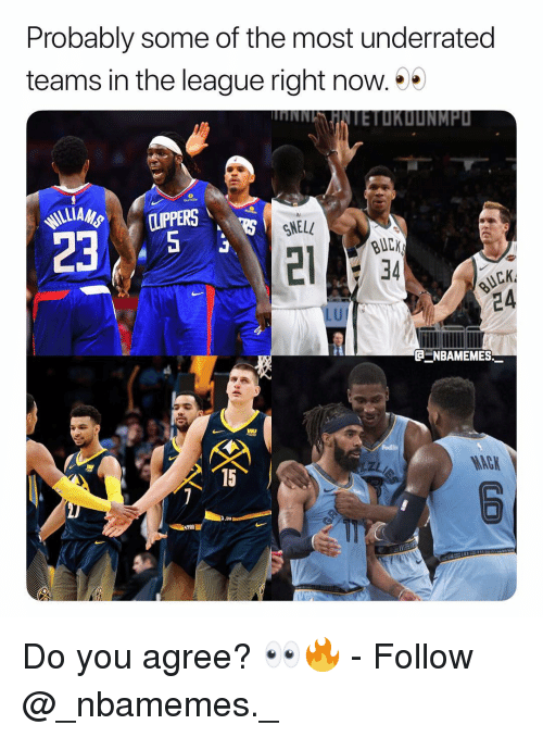 Memes, The League, and 🤖: Probably some of the most underrated  teams in the league right now.  HNNHNTETOKDUNMP  SNELL  BUCK  34  иск  24  LU  @ニNBAMEMES  MACK  15 Do you agree? 👀🔥 - Follow @_nbamemes._