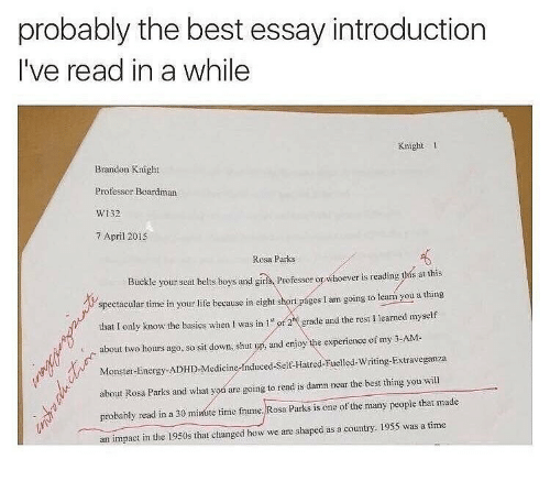 Energy, Life, and Memes: probably the best essay introduction  I've read in a while  Knight 1  Brandon Knight  Professor Boardman  W132  7 April 2015  Rosa Parks  Buckle your seat belts boys and giris, Professor or whoever is reading this at this  spectacular time in your life because in eight short pages I am going to learń you a thing  that I only know the basics when I was in 1 r2 grade and the rest I learned myself  about two hours ago, so sit down, shut up, and enjoy the experience of my 3-AM-  Monster-Energy-ADHD-Medicine-Induced-Self Hatred-Fueled-Wrng-Extraveganza  about Rosa Parks and what you are going to read is damn near the best thing you will  probably read in a 30 minute time frame. Rosa Parks is one of the many people that made  an impact in the 1950s that changed how we are shaped as a country. 1955 was a time
