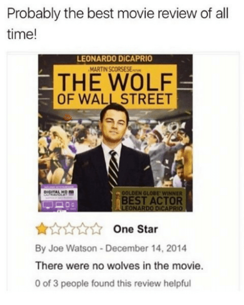 The Wolf of Wall Street: Probably the best movie review of all  time!  LEONARDO DİCAPRIO  THE WOLF  OF WALL STREET  OOLDEN GLOBE WINNER  BEST ACTOR  LEONARDO DICAPRIO  One Star  By Joe Watson-December 14, 2014  There were no wolves in the movie.  0 of 3 people found this review helpful