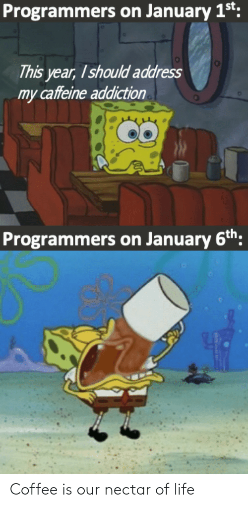 Coffee: Programmers on January 1st:  This year, I should address  my caffeine addiction  Programmers on January 6th: Coffee is our nectar of life