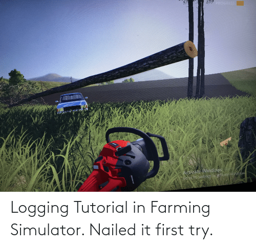 Activate Windows: PROGRESS  Activate Windows  Go to PC sertings to attivate Wincows  WA Logging Tutorial in Farming Simulator. Nailed it first try.