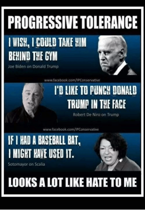 Baseball, Donald Trump, and Facebook: PROGRESSIVE TOLERANCE  IWISH, I COULD TAKE HIM  BEHIND THE GYM  Joe Biden on Donald Trump  www.facebook.com/IPConservative  'D LIKE TO PUNCH DONALD  TRUMP IN THE FACE  Robert De Niro on Trump  www.facebook.com/IPConservative  IF I HAD A BASEBALL BAT,  MIGHT HAVE USED IT  Sotomayor on Scalia  LOOKS A LOT LIKE HATE TO ME