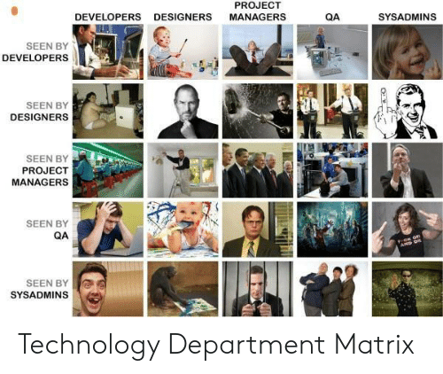 Matrix, Technology, and Project: PROJECT  DEVELOPERS  DESIGNERS  MANAGERS  QA  SYSADMINS  SEEN BY  DEVELOPERS  SEEN BY  DESIGNERS  SEEN BY  PROJECT  MANAGERS  SEEN BY  QA  AP D  SEEN BY  SYSADMINS Technology Department Matrix