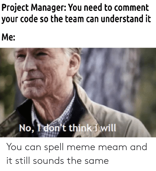 Meme, Code, and Project: Project Manager: You need to comment  your code so the team can understand it  Me:  No, don't thinkiwill You can spell meme meam and it still sounds the same