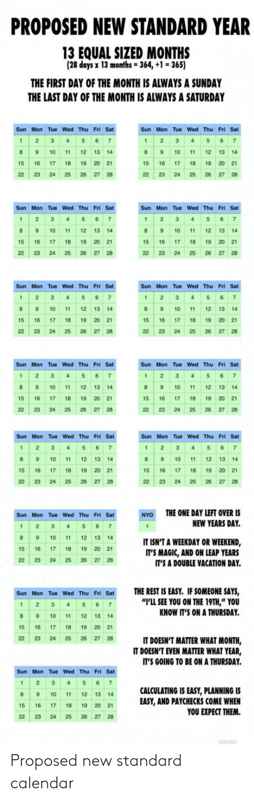 """new years day: PROPOSED NEW STANDARD YEAR  13 EQUAL SIZED MONTHS  (28 days x 13 months-364, +1 365)  THE FIRST DAY OF THE MONTH IS ALWAYS A SUNDAY  THE LAST DAY OF THE MONTH IS ALWAYS A SATURDAY  Sun Mon Tue Wed Thu Fri Sat  8 9 10 11 12 13 14  15 16 17 18 19 20 21  22 23 24 25 26 27 28  Sun Mon Tue Wed Thu Fri Sat  1 2 3 456 7  8 9 10 1 12 13 14  15 16 17 18 19 20 21  22 23 24 25 26 27 28  Sun Mon Tue Wed Thu Fri Sat  1 2 3 45 6 7  8 9 10 11 12 13 14  15 16 17 18 19 20 21  22 23 24 25 26 27 28  Sun Mon Tue Wed Thu Fri Sat  1 2 3 45 6 7  8 9 10 11 12 13 14  15 16 17 18 19 20 2  221232425262728  Sun Mon Tue Wed Thu Fri Sat  1 2 3 4 5 6 7  8 9 10 1 12 13 14  15 16 17 18 19 20 21  22 23 24 25 26 27 28  Sun Mon Tue Wed Thu Fri Sat  1 2 3 4 5 6 7  8 9 10 11 12 13 14  15 16 17 18 19 20 21  22 23 24 25 26 27 28  Sun Mon Tue Wed Thu Fri Sat  Sun Mon Tue Wed Thu Fri Sat  8 9 10 11 12 13 14  15 16 17 18 19 20 21  22 23 24 25 26 27 28  8 9 10 11 12 13 14  15 16 17 18 19 20 21  22 23 24 25 26 27 28  Sun Mon Tue Wed Thu Fri Sat  1 2 345 67  8 9 10 11 12 13 14  15 16 17 18 19 20 21  22 23 24 25 26 27 28  Sun Mon Tue Wed Thu Fri Sat  1 2 345 6 7  8 9 10 11 12 13 14  15 16 1718 19 20 21  22 23 24 25 26 27 28  THE ONE DAY LEFT OVER IS  NEW YEARS DAY.  Sun Mon Tue Wed Thu Fri Sat  NYD  8 9 10 11 12 13 14  15 16 1718 19 20 21  22 23 24 25 26 27 28  IT ISN'T A WEEKDAY OR WEEKEND,  IT'S MAGIC, AND ON LEAP YEARS  IT'S A DOUBLE VACATION DAY.  THE REST IS EASY. IF SOMEONE SAYS,  I'LL SEE YOU ON THE 19TH,"""" YOU  KNOW IT'S ON A THURSDAY  Sun Mon Tue Wed Thu Fri Sat  1 2 34 5 6 7  8 9 10 11 12 13 14  15 16 17 18 19 20 21  22 23 24 25 26 27 28  IT DOESN'T MATTER WHAT MONTH,  IT DOESN'T EVEN MATTER WHAT YEAR,  IT'S GOING TO BE ON A THURSDAY  Sun Mon Tue Wed Thu Fri Sat  1 2 3 4 5 67  8 9 10 11 12 13 14  15 16 17 18 19 20 2  22 23 24 25 26 27 28  CALCULATING IS EASY, PLANNING IS  EASY, AND PAYCHECKS COME WHEN  YOU EXPECT THEM. Proposed new standard calendar"""
