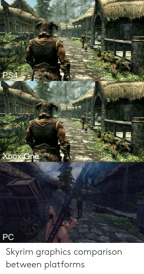 Skyrim, Comparison, and Platforms: PS  PC Skyrim graphics comparison between platforms