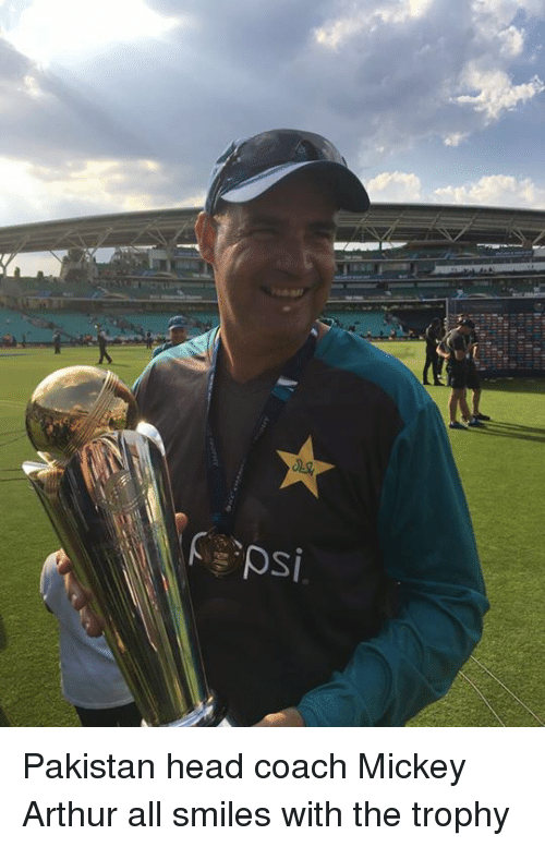 psy: psi Pakistan head coach Mickey Arthur all smiles with the trophy