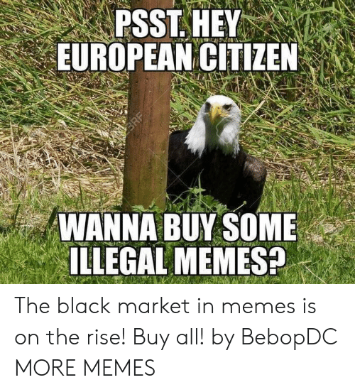 Illegal Memes: PSST. HEY  EUROPEAN CITIZEN  WANNA BUY SOME  ILLEGAL MEMES? The black market in memes is on the rise! Buy all! by BebopDC MORE MEMES