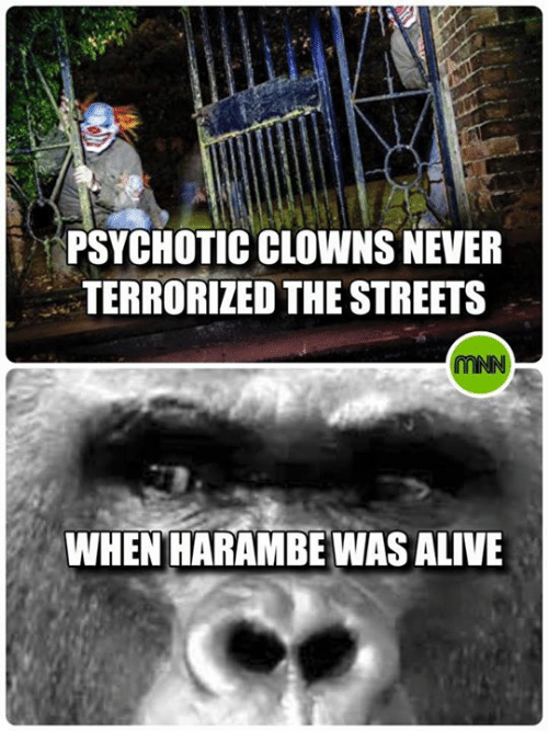 psychotically: PSYCHOTIC CLOWNS NEVER  TERRORIZED THE STREETS  WHEN HARAMBE WASALIVE