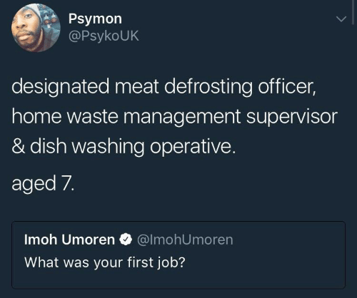supervisor: Psymon  PsykoUK  designated meat defrosting officer,  home waste management supervisor  & dish washing operative.  aged 7.  Imoh Umoren @lmohUmoren  What was your first job?