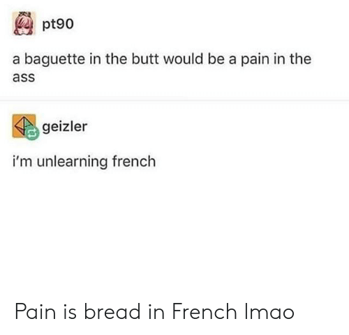The Ass: pt90  a baguette in the butt would be a pain in the  ass  geizler  i'm unlearning french Pain is bread in French lmao