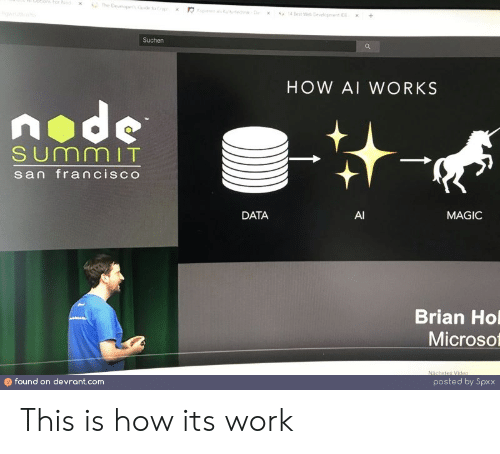 San Francisco: ptibmsFor Nod  The Deveopes o  s fehD  4 Best We Devepnt  +  x  Suchen  HOW AI WORKS  node  SUmmIT  san francisco  DATA  AI  MAGIC  Brian Ho  Microso  Nächstes Video  found on devrant.com  posted by Spxx This is how its work