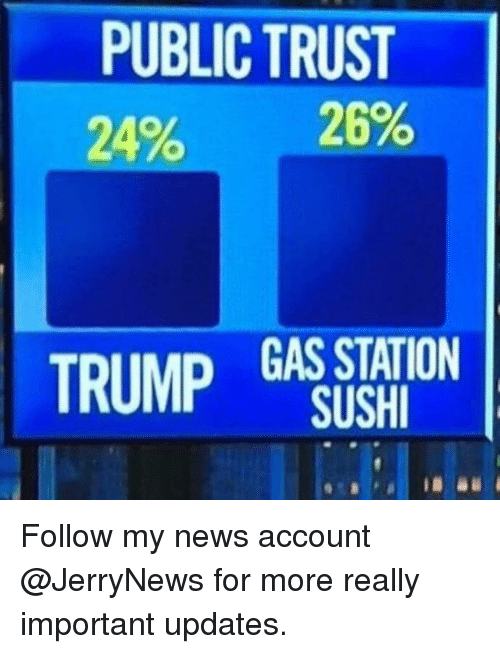 Sush: PUBLIC TRUST  20% 29%  TRUMP GAS STATION  SUSH Follow my news account @JerryNews for more really important updates.