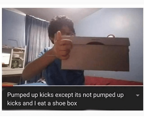 kicks: Pumped up kicks except its not pumped up  kicks and I eat a shoe box
