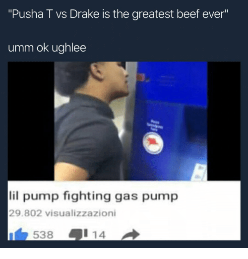 """Beef, Drake, and Pusha T.: """"Pusha T vs Drake is the greatest beef ever""""  IS  umm ok ughlee  lil pump fighting gas pump  29.802 visualizzazioni  538号114"""