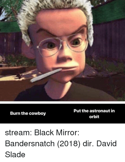 Target, Tumblr, and Black: Put the astronaut in  orbit  Burn the cowboy stream:  Black Mirror: Bandersnatch (2018) dir. David Slade