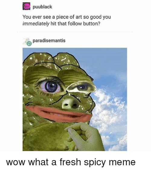 Fresh, Meme, and Memes: puublack  You ever see a piece of art so good you  immediately hit that follow button?  paradisemantis wow what a fresh spicy meme