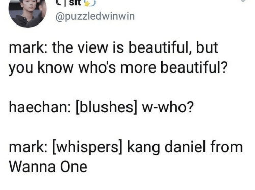 Beautiful, The View, and Who: @puzzledwinwin  mark: the view is beautiful, but  you know who's more beautiful?  haechan: [blushes] w-who?  mark: [whispers] kang daniel from  Wanna One