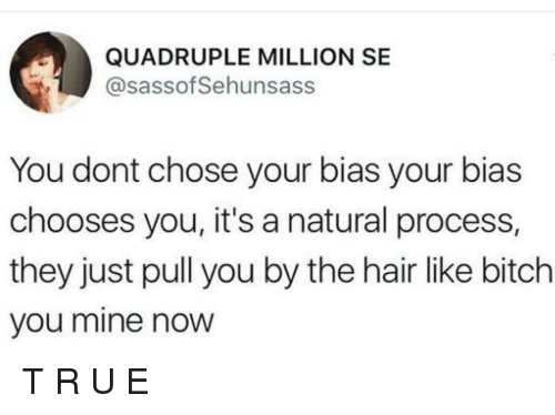 quadruple: QUADRUPLE MILLION SE  @sassof Sehunsass  You dont chose your bias your bias  chooses you, it's a natural process,  they just pull you by the hair like bitch  you mine now T         R        U             E