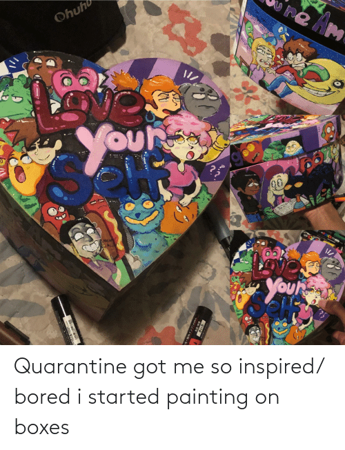painting: Quarantine got me so inspired/ bored i started painting on boxes