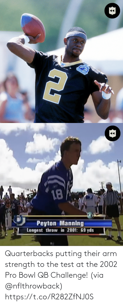 challenge: Quarterbacks putting their arm strength to the test at the 2002 Pro Bowl QB Challenge! (via @nflthrowback) https://t.co/R282ZfNJ0S