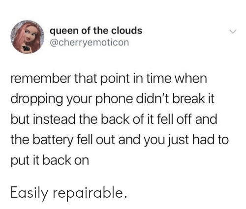 clouds: queen of the clouds  @cherryemoticon  remember that point in time when  dropping your phone didn't break it  but instead the back of it fell off and  the battery fell out and you just had to  put it back on Easily repairable.