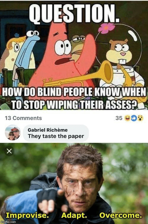 gabriel: QUESTION  HOW DO BLIND PEOPLE KNOWWHEN  TO STOP WIPINGTHEIR ASSES?  13 Comments  35  Gabriel Richème  They taste the paper  X  Improvise. Adapt.  Overcome.  imgfip.com