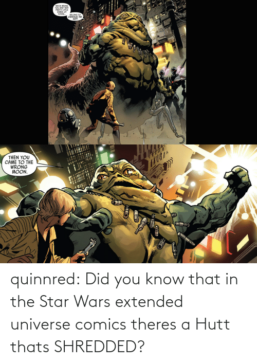Did You: quinnred:  Did you know that in the Star Wars extended universe comics theres a Hutt thats SHREDDED?