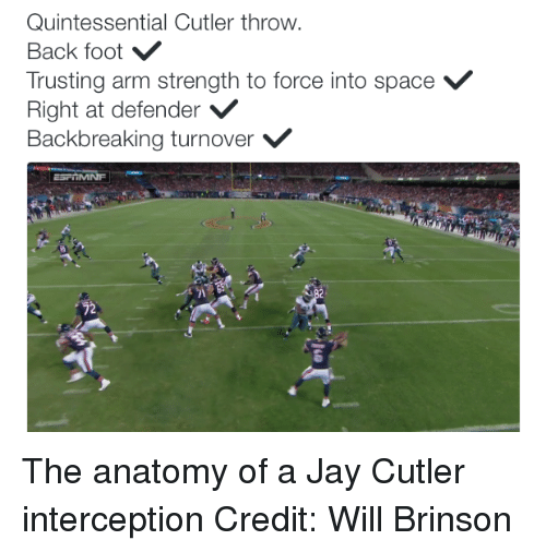Jay, Nfl, and Jay Cutler: Quintessential Cutler throw.  Back foot  Trusting arm strength to force into space V  Right at defender  V  Backbreaking turnover V  22 The anatomy of a Jay Cutler interception Credit: Will Brinson