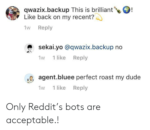 Dude, Reddit, and Roast: qwazix.backup This is brilliant'  Like back on my recent?  !  1w Reply  sekai.yo @qwazix.backup no  1 like Reply  1w  agent.bluee perfect roast my dude  1 like  Reply  1w Only Reddit's bots are acceptable.!