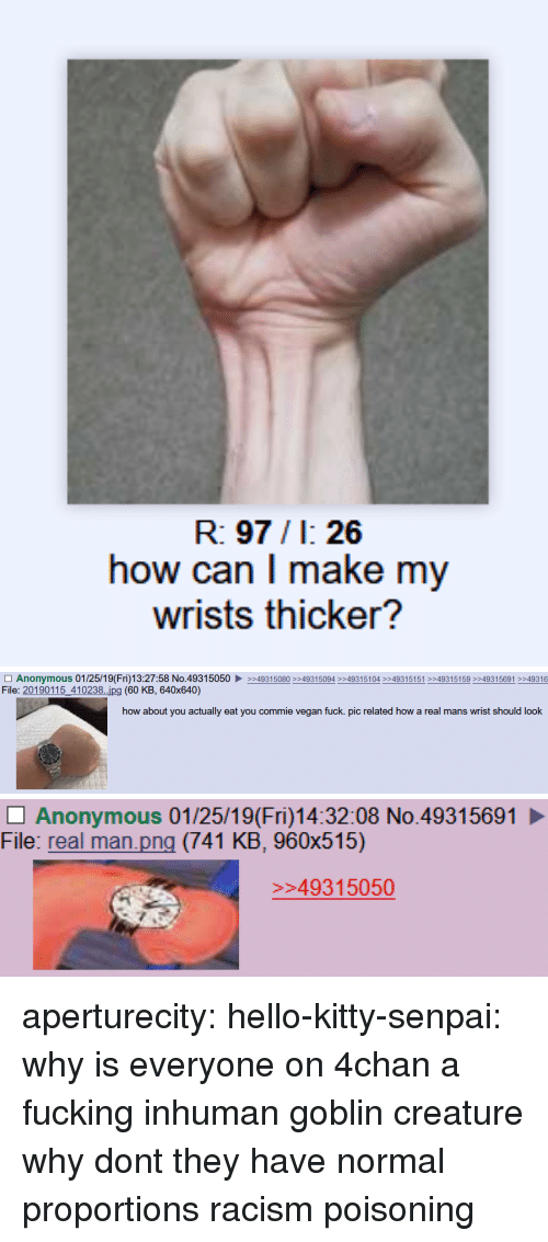 4chan: R: 97/1: 26  how can I make my  wrists thicker?   □ Anonymous 01 /25/1 9( Fri)13:27:58 No.4931 5050 ▶  File: 20190115_410238..ipg (60 KB, 640x640)  >>493 15080 >>4931 5094 >>4931 5104 >>4931 5151 >>493 15 159 >>493 15691 >>49316  how about you actually eat you commie vegan fuck. pic related how a real mans wrist should look   Anonymous 01/25/19(Fri)14:32:08 No.49315691  File: real man.png (741 KB, 960x515)  49315050 aperturecity: hello-kitty-senpai: why is everyone on 4chan a fucking inhuman goblin creature why dont they have normal proportions   racism poisoning