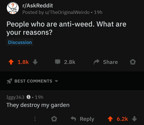 weirdo: r/AskReddit  Posted by u/TheOriginal Weirdo 19h  People who are anti-weed. What are  your reasons?  Discussion  T 1.8k  2.8k  Share  BEST COMMENTS  Iggy363 S 19h  They destroy my garden  Reply 6.2k
