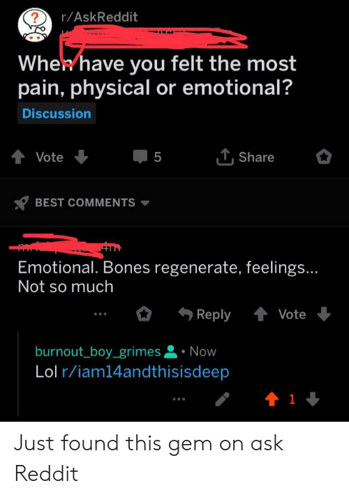 rAskReddit Whekhave You Felt the Most Pain Physical or Emotional
