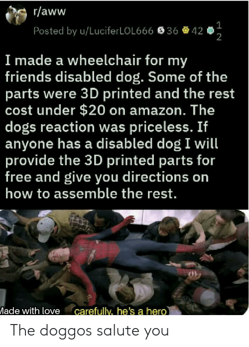 Amazon, Aww, and Dogs: r/aww  Posted by u/LuciferLOL666  36  42  2  I made a wheelchair for my  friends disabled dog. Some of the  parts were 3D printed and the rest  cost under $20 on amazon. The  dogs reaction was priceless. If  anyone has a disabled dog I will  provide the 3D printed parts for  free and give you directions on  how to assemble the rest.  ade with love carefully, he's a hero The doggos salute you