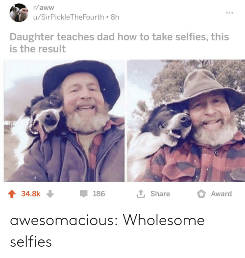 aww: r/aww  u/SirPickleTheFourth 8h  Daughter teaches dad how to take selfies, this  is the result  1 Share  1 34.8k  186  Award awesomacious:  Wholesome selfies